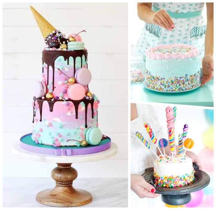 kuchen für kindergeburtstag in rosa und blau dekoriert mit maccaron und schokoladenganache