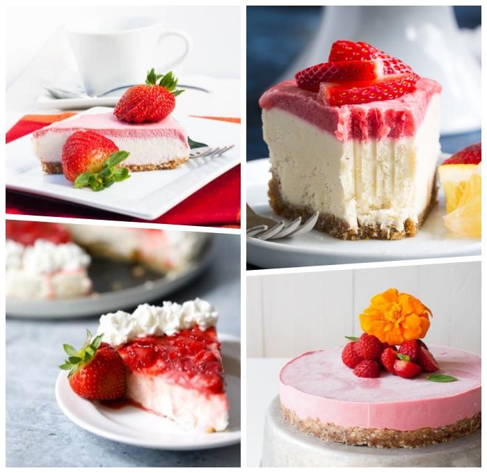 kuchen ohne mehl und zucker, erdbeer torte rezepte, käsekuchen ohnebacken
