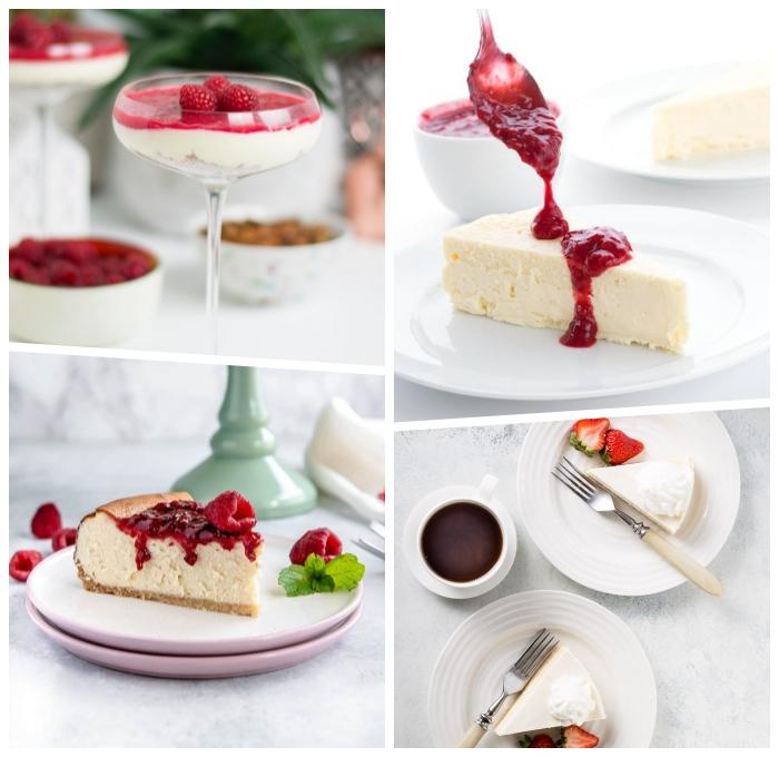 kuchen ohne zucker und mehl, nachtisch für den sommer, dessert im glas, philadelphia torte mit himbeeren
