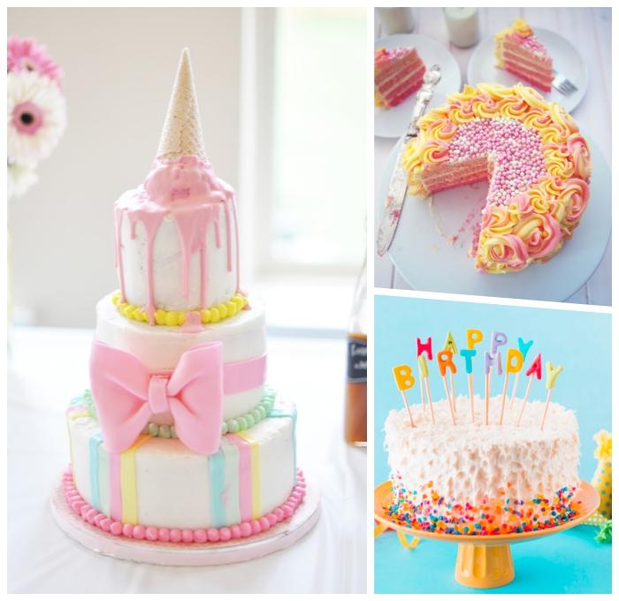 kuchne zum 1 geburtstag ideen, torte dekoriert mit fondant in pastellfarben und zuckerglasur, rosa schleife