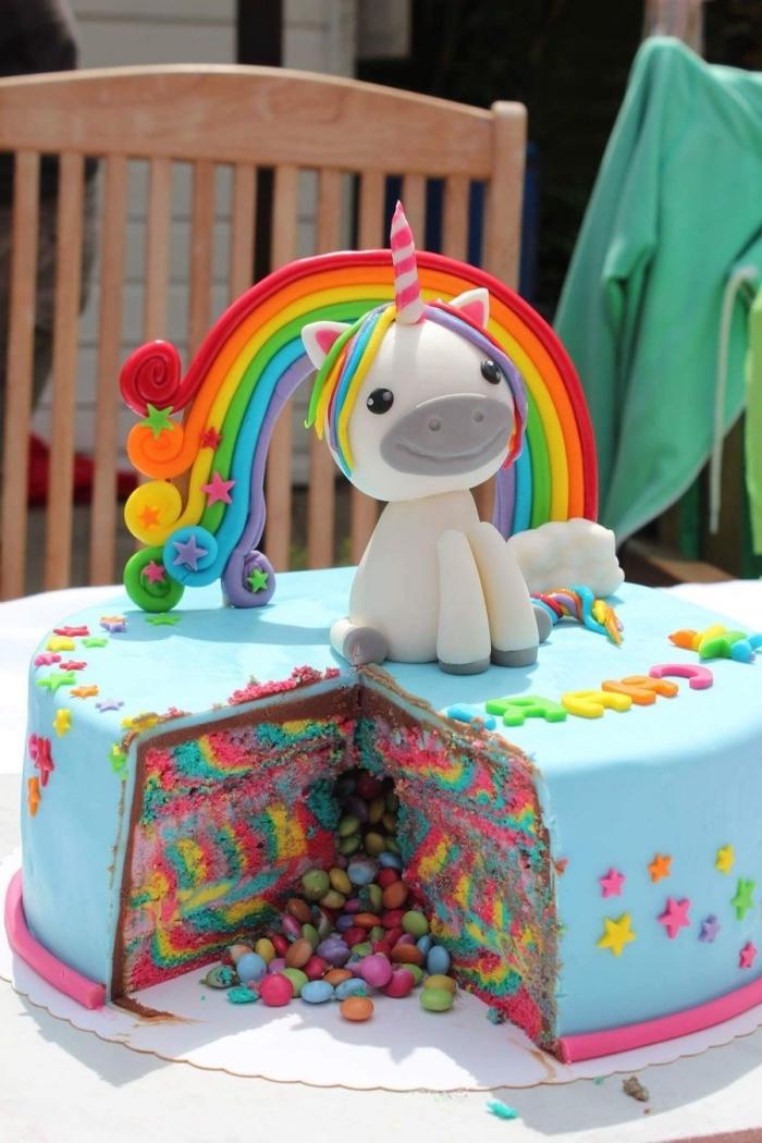 regenbogen torte dekoriert mit fondant, kuchen zum 1 geburtstag, geburtstagstorten für kinder