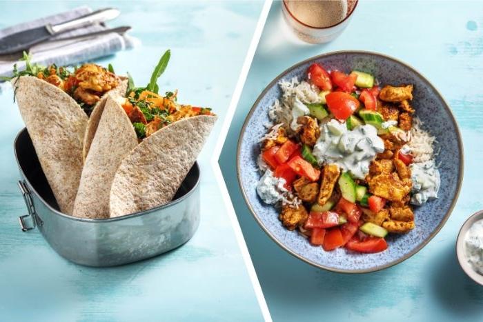 was esse ich heute, eine schüssel mit speise, tomaten, zaziki, tacos, tortillas, wraps mit gemüse