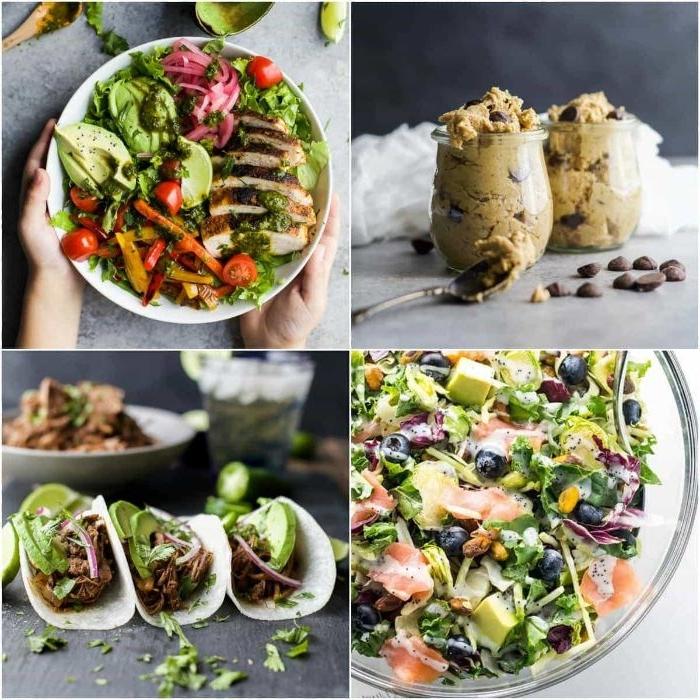 schnelle rezepte mittagessen, vier rezepte ideen zum nachmachen, tortillas, creme, salat sorten