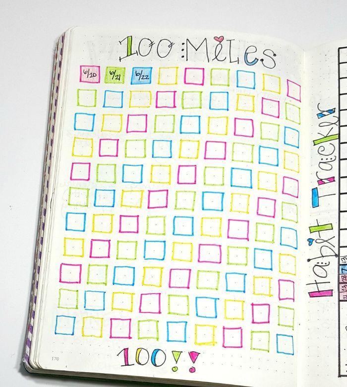 wochenübersicht bullet journal, 100 ideen zum inspirieren, bunte kleine vierecken