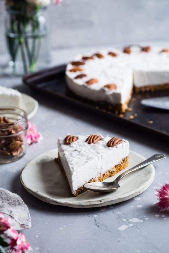 low carb käsekuchen rezepte, cheesecake mit pekannüssen, nachtisch ideen einfach