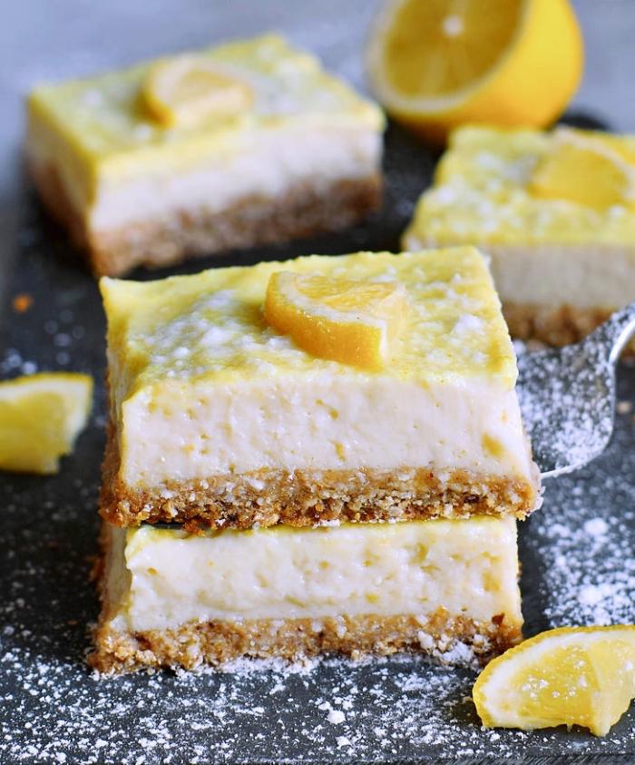 low carb kuchen, cheesecake bars, käsekuchen mit zitronen und nüssen, kohlenhydratarmer nachtisch