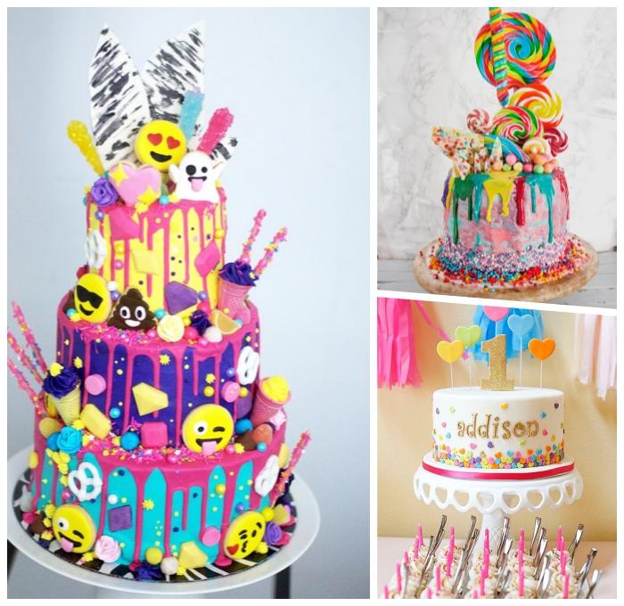 geburtstagstorten für kinder, lustige kuchen kindergeburtstag, bunte emoji torte, rosa zuckerglasur