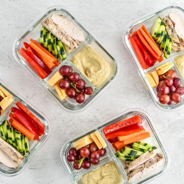 schnelle rezepte mittagessen, essen zum mitnehmen im voraus zubereiten, gesunde speisen