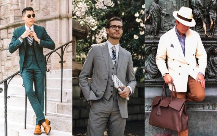 20er kleid vintage outfit für männer drei look ideen, männerstil, grauer anzug, weißes sakko, grünes kostüm