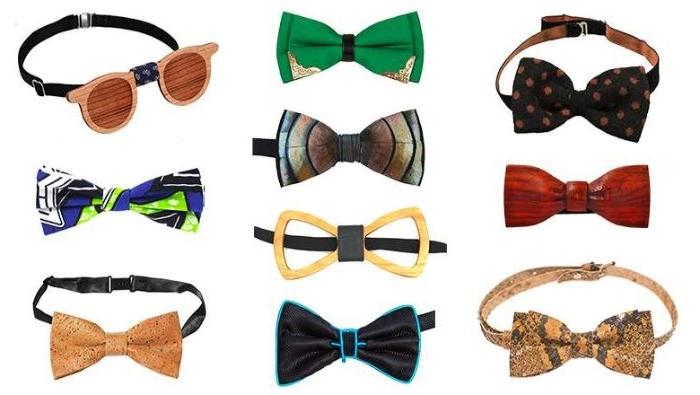 schuhe 20er jahre und andere accessoires, fliegen aus holz mit lustigen motiven, modelle