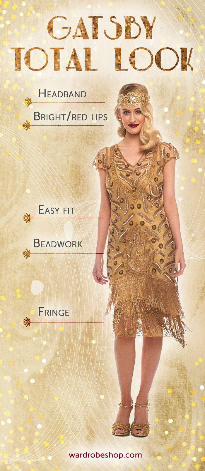 20er kleid vintage, ein muster wie retro 20er look geschafft wird, goldenes kleid und accessoires dazu
