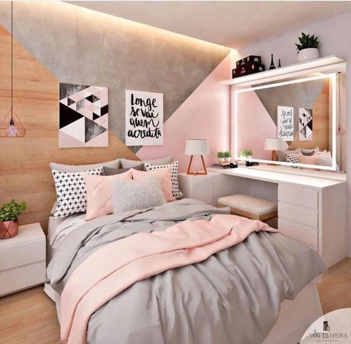 deko schlafzimmer, rosa zimmer, graue deko, wandbilder mit aufschriften und botschaften
