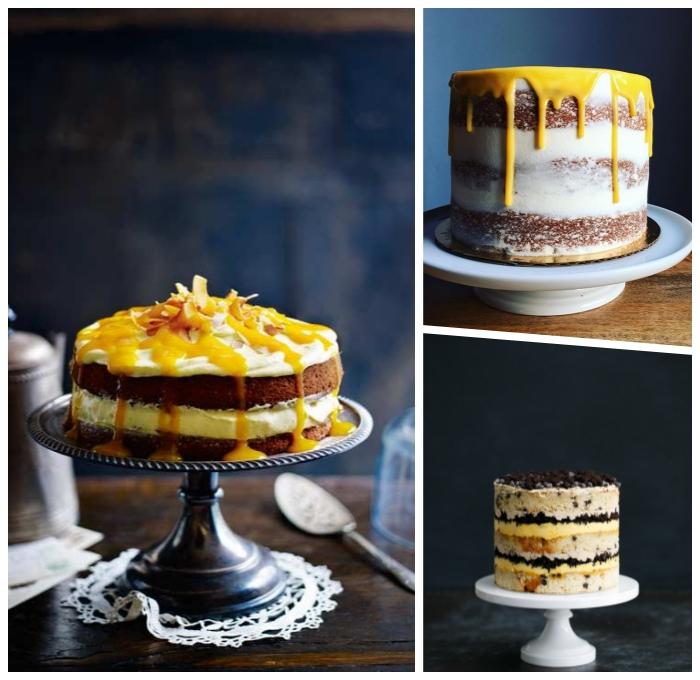 naked cake mit mango, geburtstagstorte rezepte, kuchen mit früchten, geburtstagskuchen ideen