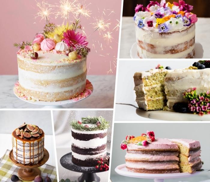 naked cake reyepte und dekorationsideen, geburtstagstorte dekoideen, einfache geburtstagskuchen