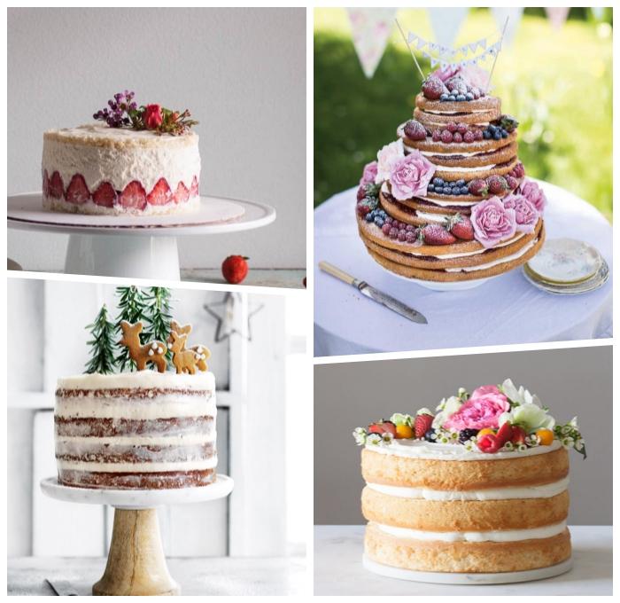 naked cake mit erdbeerne, nachtisch zu wiehanchten, zimtkekse hirschen, torte mit früchten
