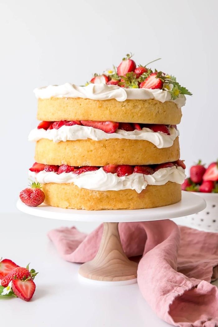 naked torte mit erdbeeren, weiße sahne, vanileboden, sommerdessert ideen, nachtisch