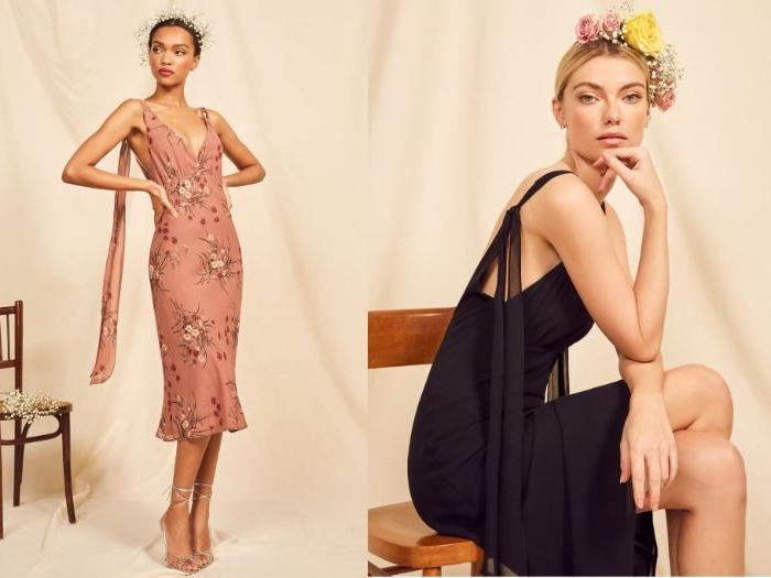 kataloge mode damen, zwei frauen, collage mit models, die verschiedene kleidung vorstellen, blumenmotive, blumenkranz