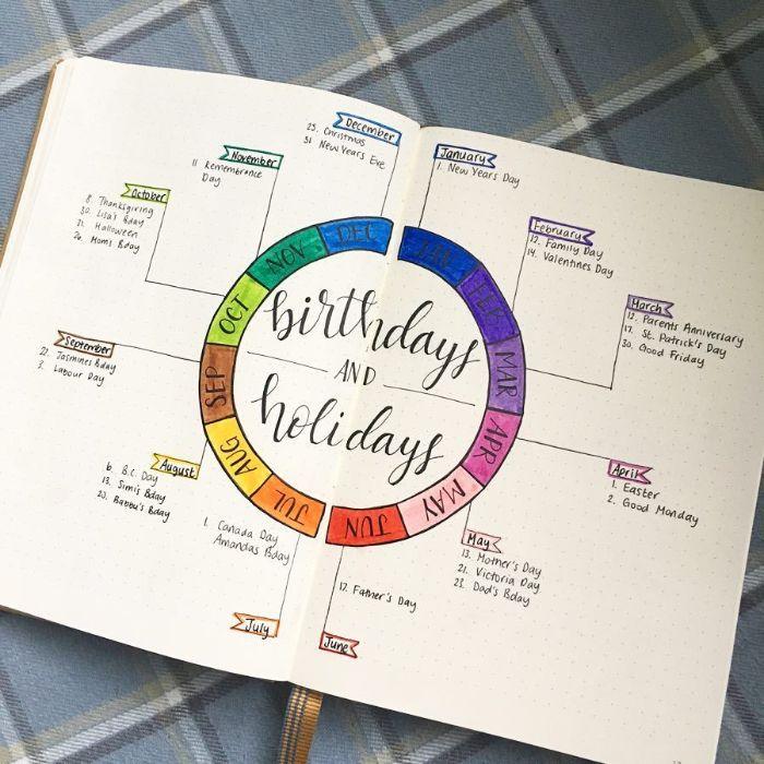 bullet journal anleitung deutsch, eine seite für besondere anlässe lassen, regenbogen farbe