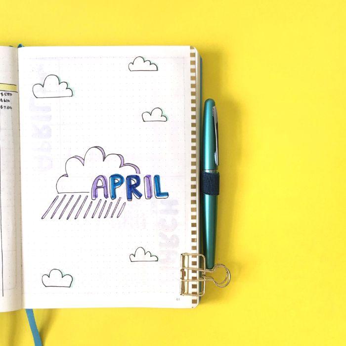 bullet journal anleitung deutsch, april, wolken, deko heft ideen, gelber hintergrund