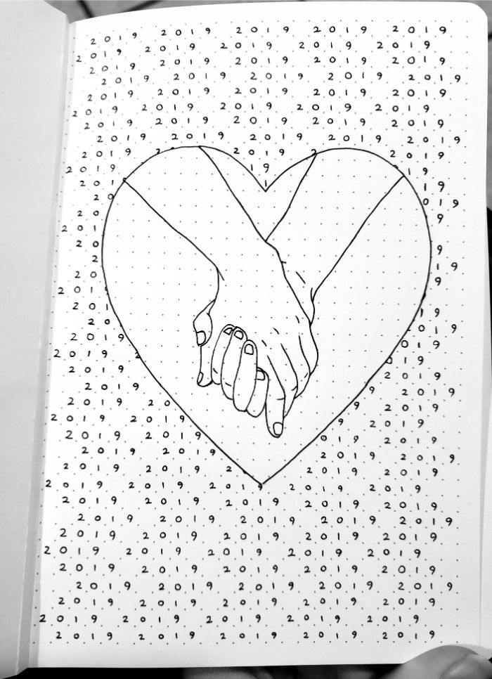 bullet journal anleitung deutsch, ein herzchen, zwei hände halten einander, liebeszeichen und symbole