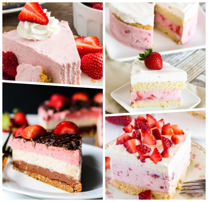 party dessert zum vorbereiten am vortag, nachtisch mit erdbeeren, cheesecake rezept