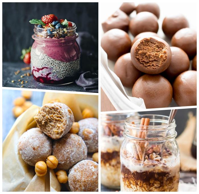 proteinbällchen mit kakao, partysnacks fingerfood kalt, höppchen mit kichererbsen, dessert in einmachglas