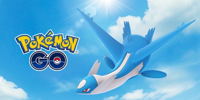 ein Drachen, der in den Himmel schwebt, Pokemon Go Logo auf blauem Hintergrund