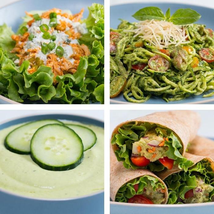 was koche ich morgen, vier fotos von speisen, tortillas, zucchini spaghetti, suppe keto gerichte