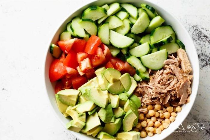 abendessen ideen, eine schüssel mit verschiedenen zutaten, tunfisch, avocado, gurken, tomaten, kichererbsen