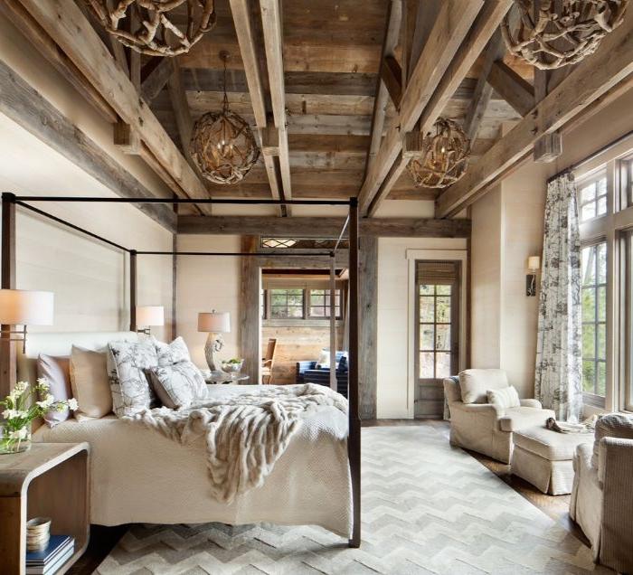 deko schlafzimmer, ethno stil idee, deko schlafzimmer bett, sessel, sofas, decke, beiger stil