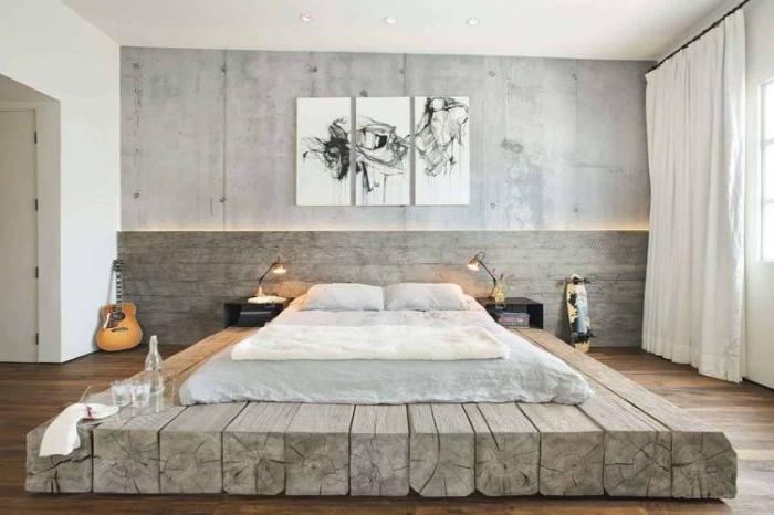 wandgestaltung schlafzimmer, robustes zimmerdesign, zimmer ideen zum nachgestalten, deko, holzpaletten, boden bedeckung