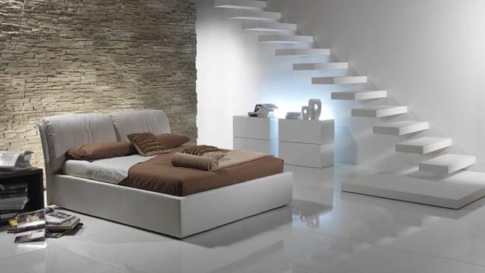 schlafzimmer modern, tolle beleuchtung, graues bett, weiße treppe, haus design idee, futuristisches design