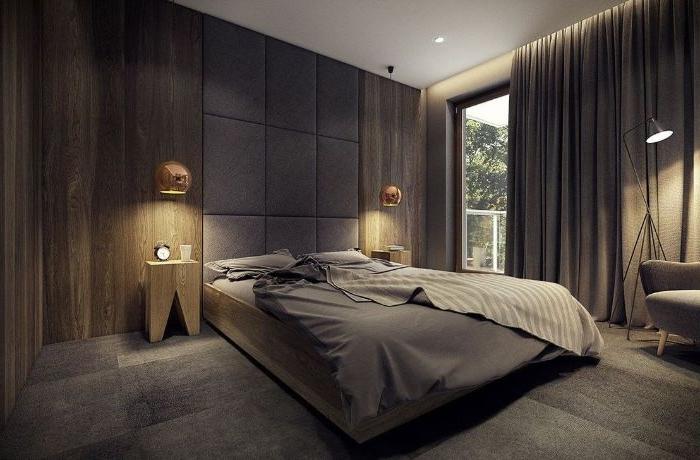 schlafzimmer modern, graues zimmerdesign für schlafraum, komfortable romantische lichtidee