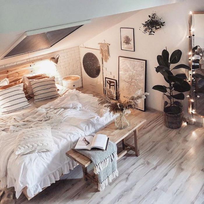 schlafzimmer modern, ethno stil idee, schlafen mit stil, lampen dekorationen, wandbilder zu hause