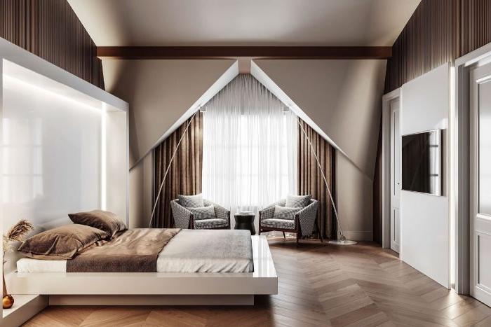 ankleidezimmer idea, beiges zimmer, designidee, braune vorhänge, weißes zimmerdesign