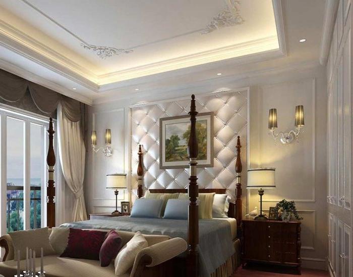 schlafzimmer komplett mit boxspringbett, schönes riesengroßes bett mit spitzen dekorationen, wand weiß