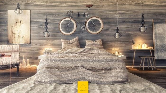 schöne schlafzimmer, fahrrad an der wand, bett teppich, kleine leuchten wanddeko ideen