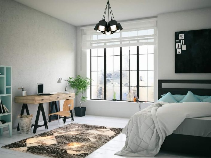 wohnideen schlafzimmer, graues design, ideen lampengestaltung idee, teppich kleiner schreibtisch