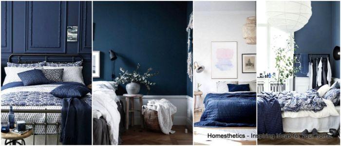 ankleidezimmer ideen, collage bild, idee, zimmerdesign in blau und weiß, vier fotos neben einander