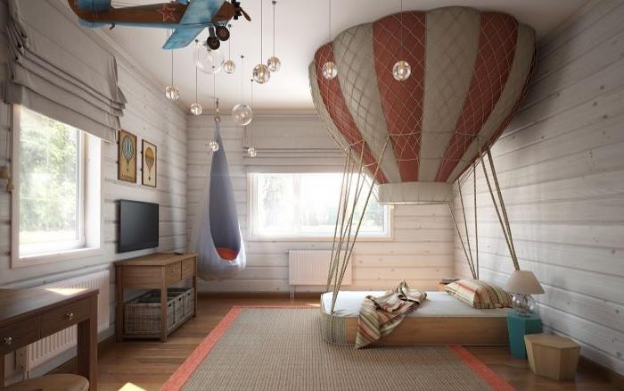 deko ideen schlafzimmer, baloon design vom bett im kinderzimmer, kreative ideen zum phantasieren