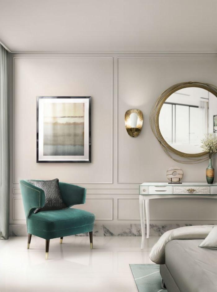deko ideen schlafzimmer, grüner sessel, ein großes rundes spiegel, wandbild