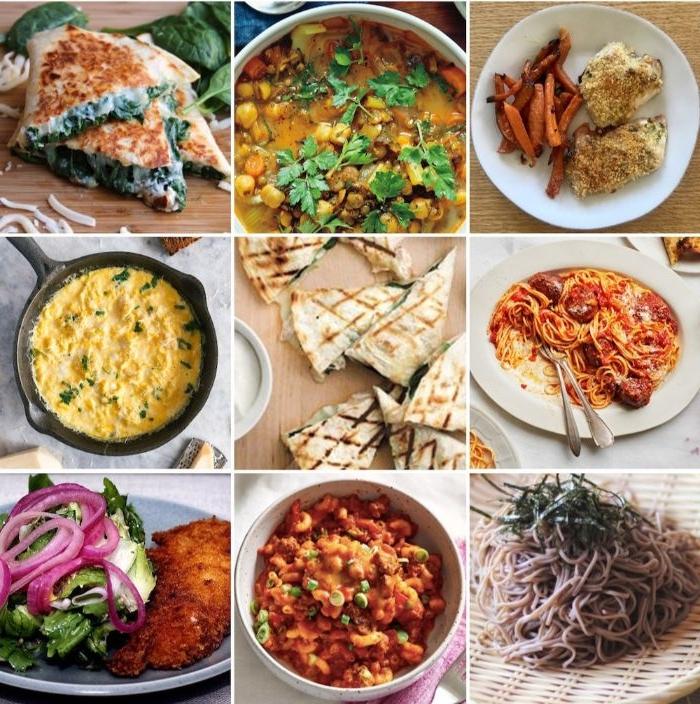 was soll ich kochen, neun ideen in einem bild, bildcollage mit rezeptideen, schnell kochen