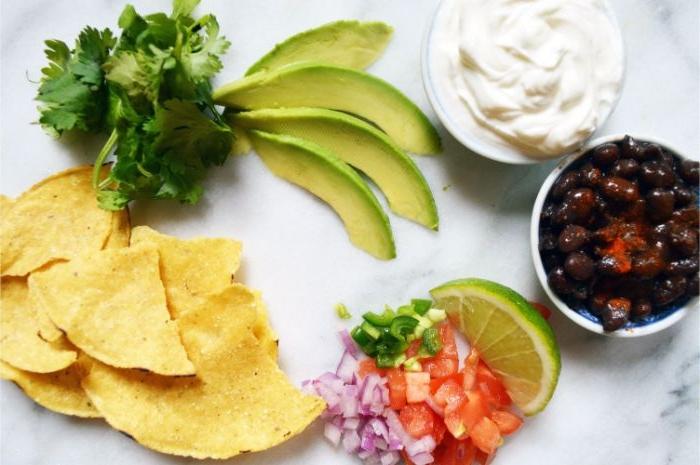 was soll ich kochen, tortillas, tacos, avocado stücke, oliven, zitrone, tomaten, zwiebel, yogurt
