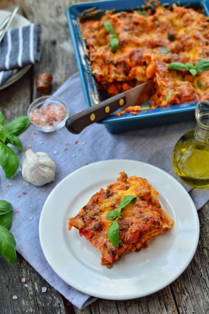 was soll ich kochen, lasagne hausgemacht, ideen mit frischem basilikum und knoblauch