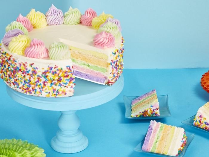 torte in pastellfarben, regenbogen tortenboden, schnelle kuchen für kindergeburtstag, streusel