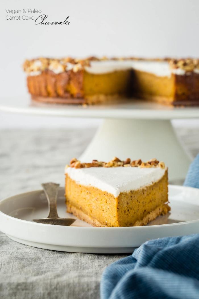 schnelle kuchen ohne backen, veganer käsekuchen mit karotten, cheesecake rezept, paleo