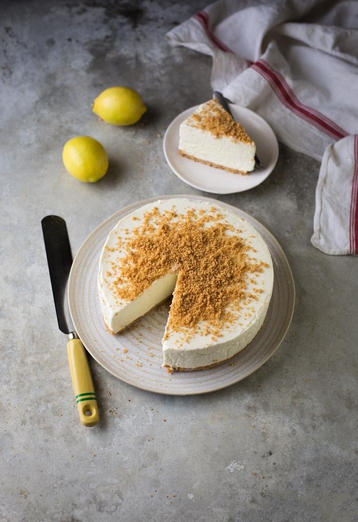 frischkäsekuchen mit zimt und limetten, schnelle kuchen ohne backen, philadelhpia torte