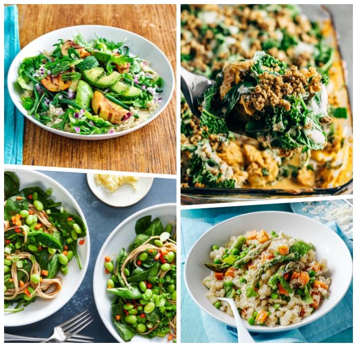 schnelle vegetarische gerichte, gesunde rezepte, qunia mit gemüse, kasserolle mit spinat, salat aus bohnen und kräutern