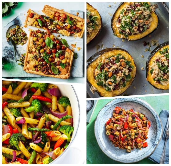 schnelle vegetarische gerichte, pizza mit gemüse, pasta mit paprikas, brokkoli und zwiebel, mitagessen ideen
