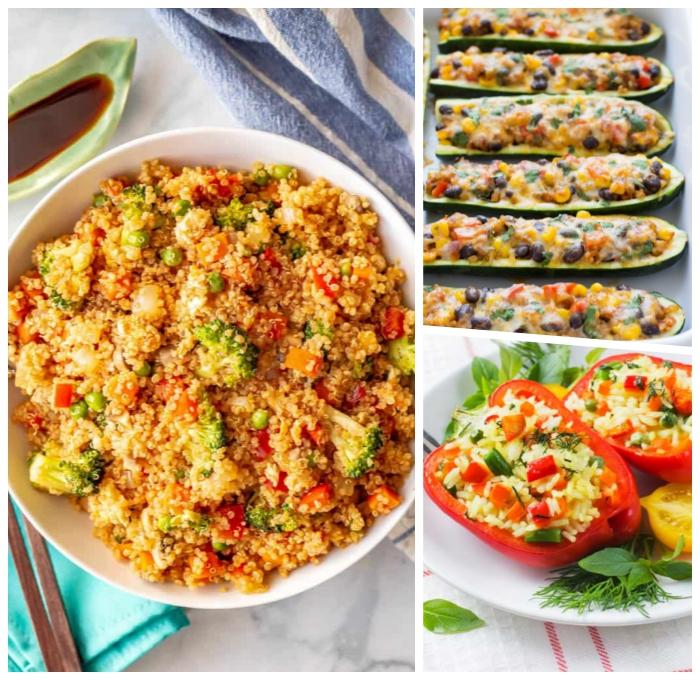 schnelle vegetarische gerichte, quninoa mit gemüse, gefüllte paprikas, zucchini bote